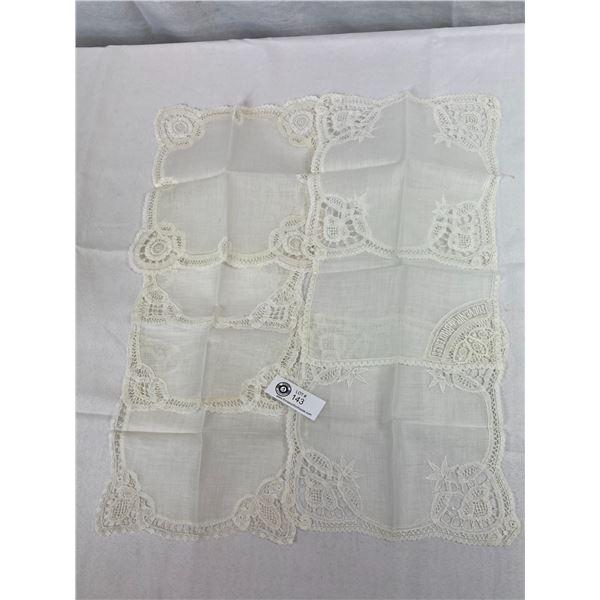 """Antique Belgium Fine Handmade Handkerchiefs, 7 Unused Handkerchiefs, 9.5""""x5.5"""""""