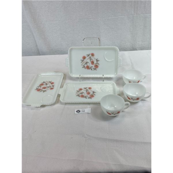 Anchor Hawking Fire King 3 Snack Plates With Matching Cups, Very Good Condition