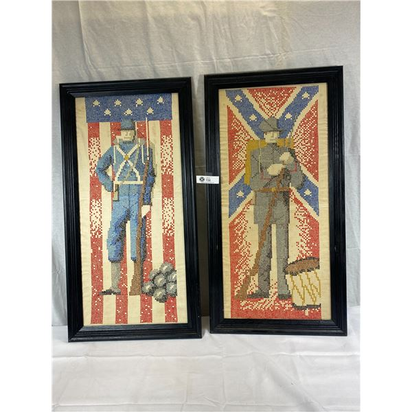 2 Very Impressive Cross Stitch Depictions Of Civil War Soldiers, 1 Union Solider, 1 Confederate Soli