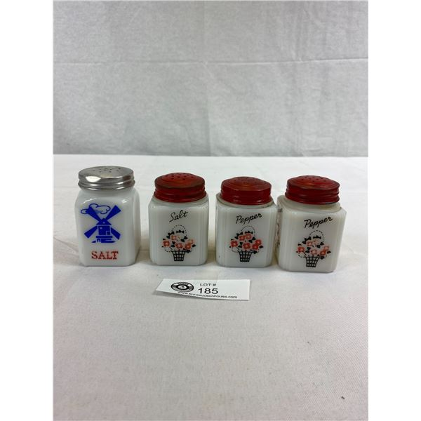 4 1940's Milk Glass Salt And Pepper Shakers In Good Shape