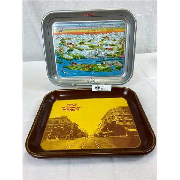 2 Coca-Cola Trays, Both Vancouver, 1 Is Expo 86
