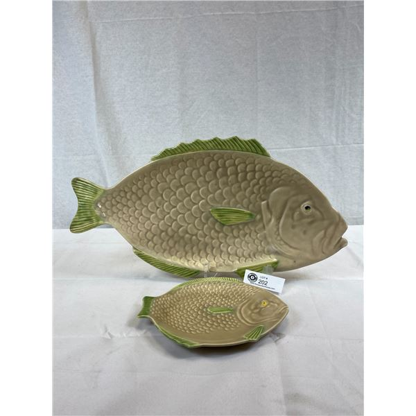 1930's Large And Small Fish Dish Platers, As Found, Larger One Has Repair