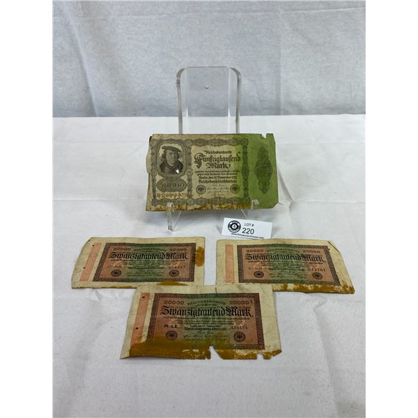 4 1920's Early German Bank Notes