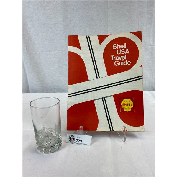 2 Shell Oil Items, Drinking Glass And Travel Guide