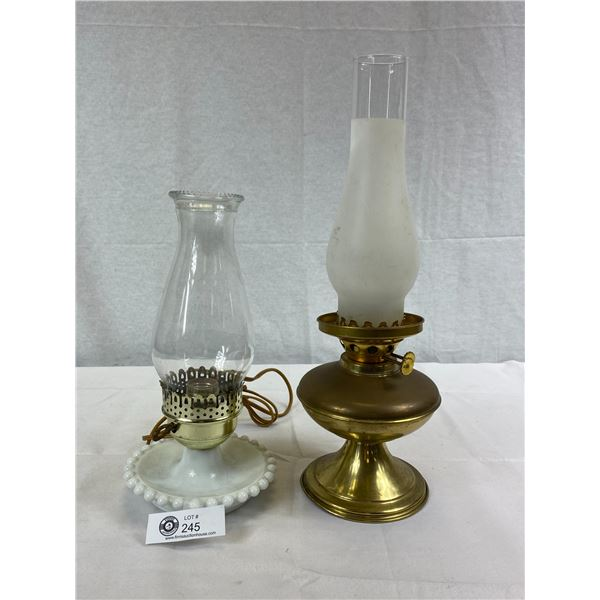 2 Vintage Lamps, 1 Brass Oil Lamp And 1 Milk Glass