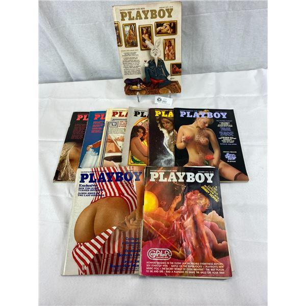 9 Copies Of 1975 Playboy Magazines