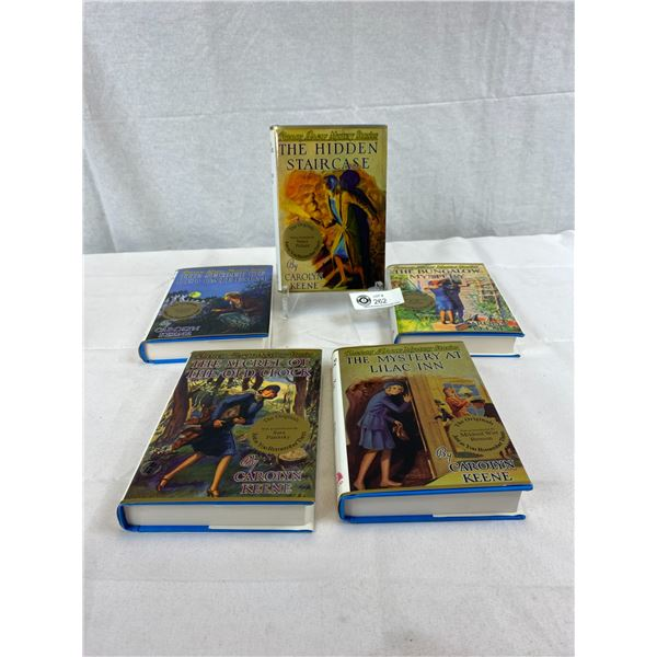 5-Book Set Of Nancy Drew Mystery Stories By Carolyn Keene, Hardcover And Dust Jacket, Excellent Shap