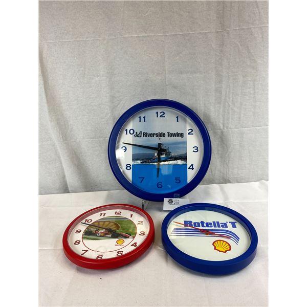 Three Round Wall Clocks, Riverside Towing AAND 2 Shell Clocks