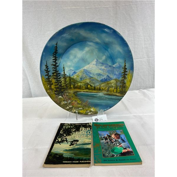 """Beautiful 16"""" Signed Gold Pan Painting By Erickson And 2 Gold Panning Books"""