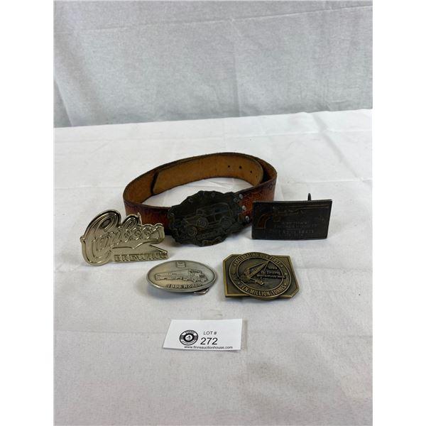 Vintage Tooled Leather Belt C/W 5 Interchangeable Belt Buckles