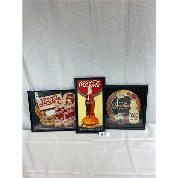 3 Beautiful Cardboard Advertisements, Double Dot Pepsi Cola, Drink Coca-Cola And Milk Cream Top Bott
