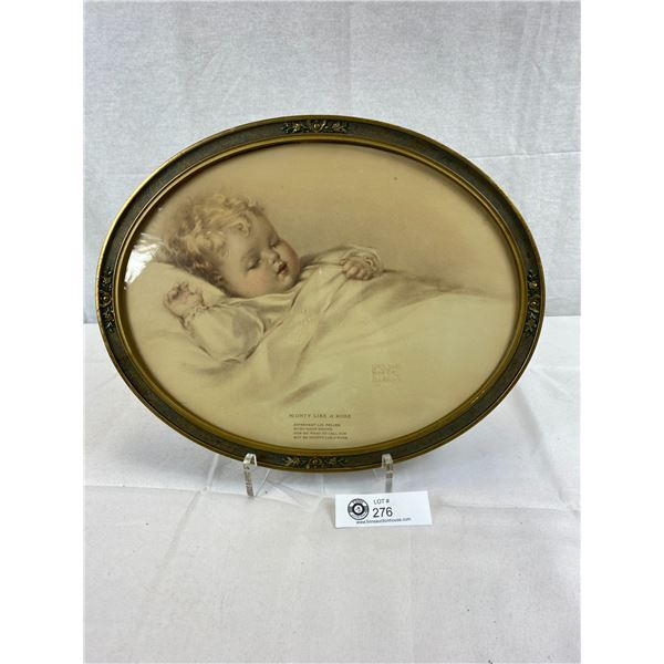 Vintage Oval Frame Bessie Pease Gutmann 'Mighty Like A Rose' Print, Very Nice Condition