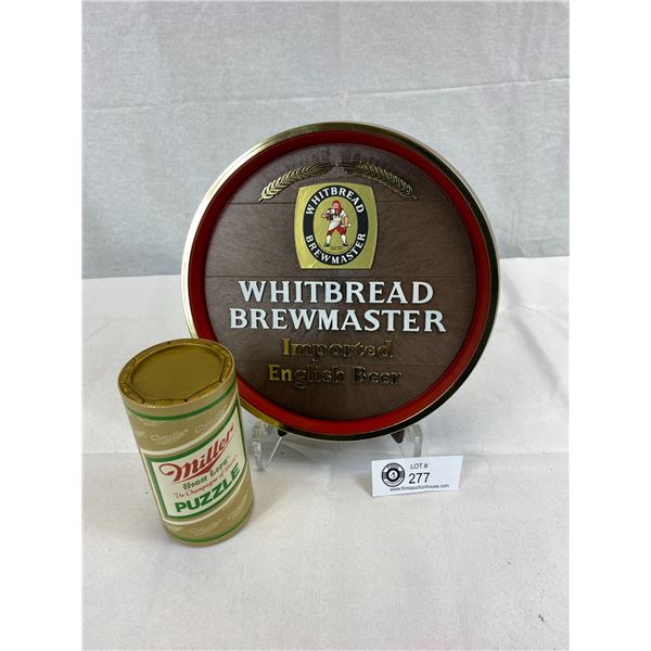 """White Bread Brewmaster Imported English Beer Round Stand Up Sign, 9"""" Diameter And A Miller High Life"""