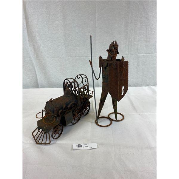 Metal Art Train Sculpture And Middle Ages Metal Figurine, Scrap Metal Art, Folk Art, Recycled Metal