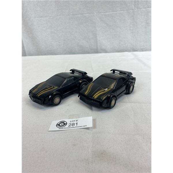 2 Collectible 1982 Kidco Power Blasters Rebound Racing Trans AM Car, Black, Have Working Pullcords O