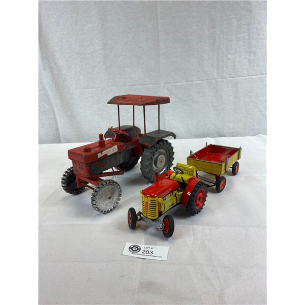 Tin Metal Tractor/Trailer With Locking Pin And Large Tractor Display Model, Steering Mechanism, Work