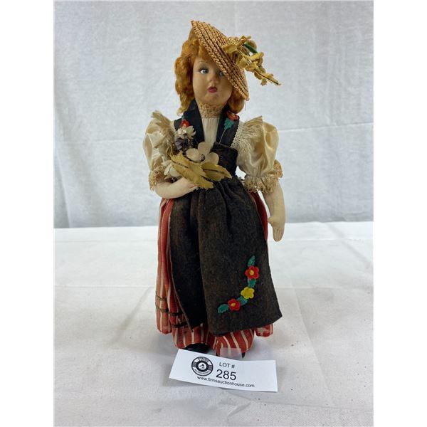 "Vintage Cloth Souvenir Doll, Italian Made, 10.5""T"