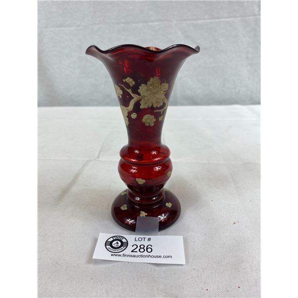 """Antique Red Ruby Glass Vase With Hand Painted Grape Leaf Design, Hand Blown, 5.75""""T"""