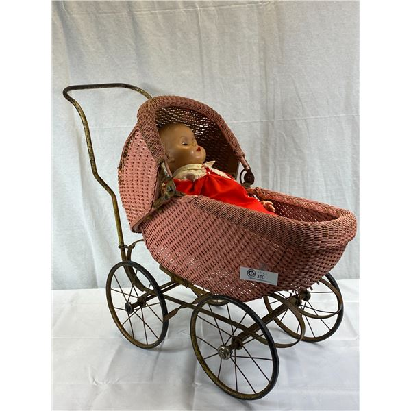 Antique Woven Baby Carriage With Large Doll