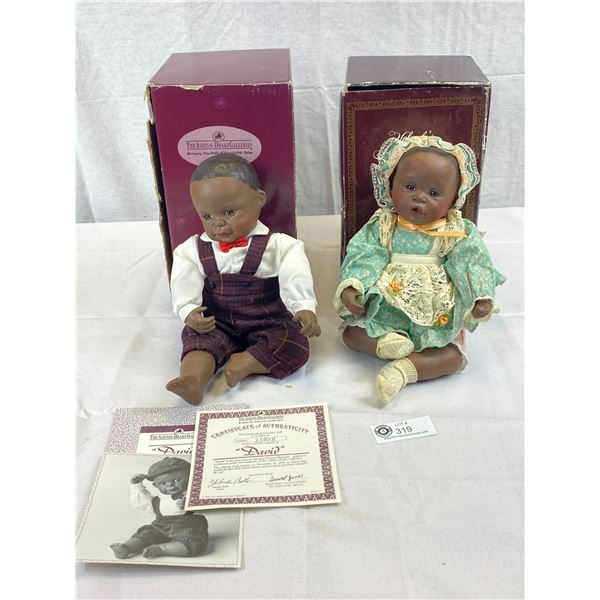 2 Dolls With Certificates With Original Box