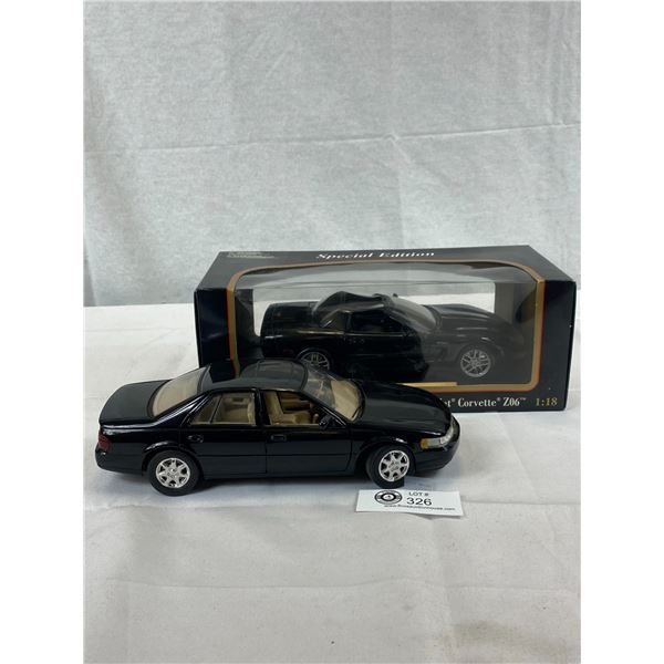 2 1/18 Scale Die Cast Cars, 98 Cadillac And 2001 Corvette In Box, Convertible, Slight Damage To Top