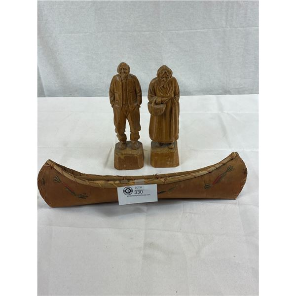 2 Folk Art Hand Carved People Plus First Nations Souvenir Canoe