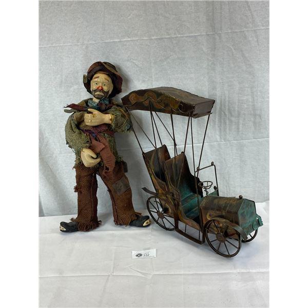 Folk Art Tin Car Plus Tall Hobo Man