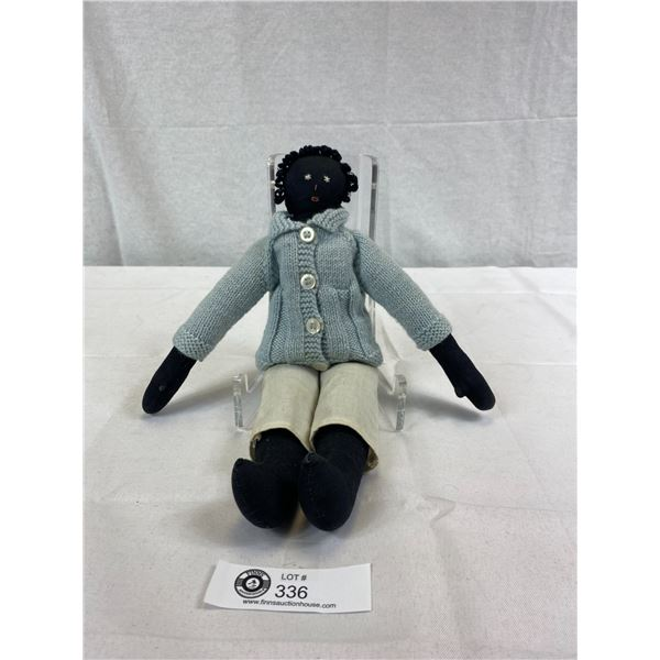 "Vintage Black Rag Doll Boy, Total Length 13.5"", Very Nice Condition, Black Americana"