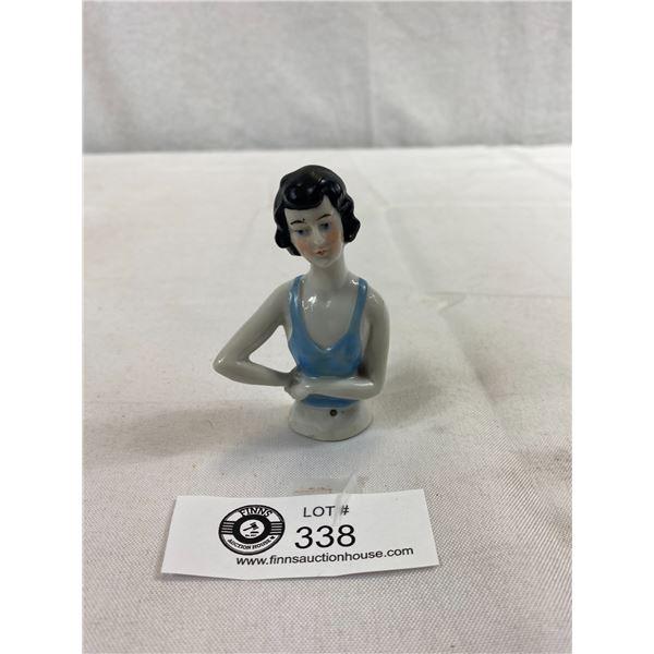 """Antique German Half Doll, Flapper Girl, Porcelain Figurine, No Damage, 3.5""""T"""