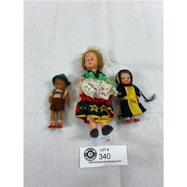 3 Small Vintage Plastic Souvenir Dolls