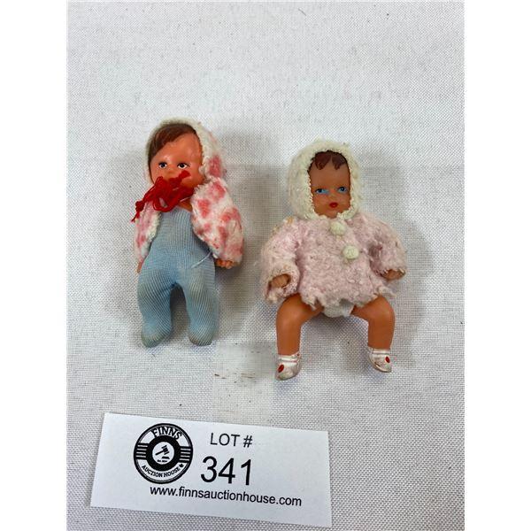 "2 Vintage Japanese Hard Plastic Baby Dolls, 2.75""L"