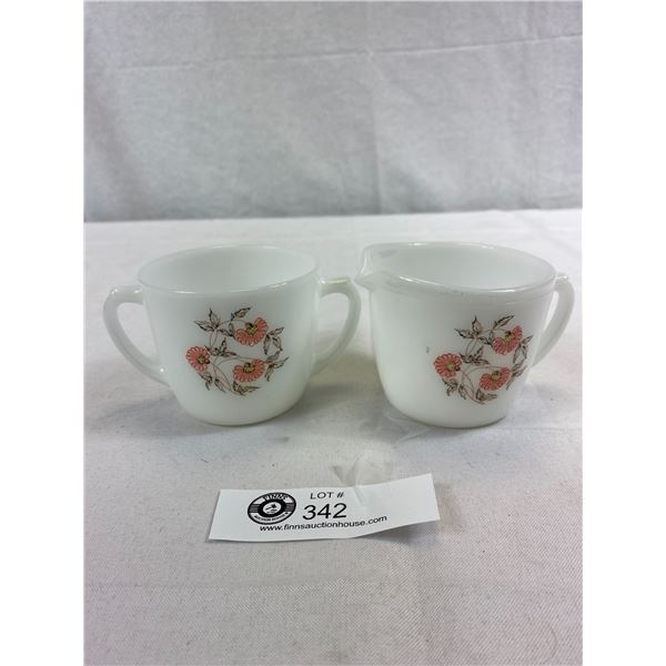Anchor Hawking Fire King Cream And Sugar Set Pattern Is Fleurette, Great Condition