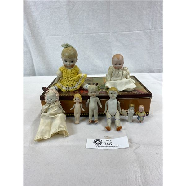 Vintage Japanese Bisque Penny Doll Lot From The 1920's 8 Collectible Miniature Bisque Dolls