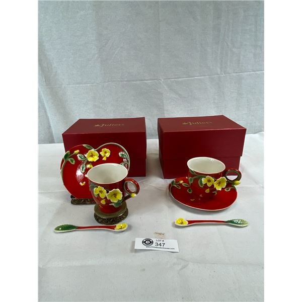 2 Gorgeous Vintage Cup And Saucer Sets By Juliet's, Heart Shaped Saucers With Beautiful Wild Yellow