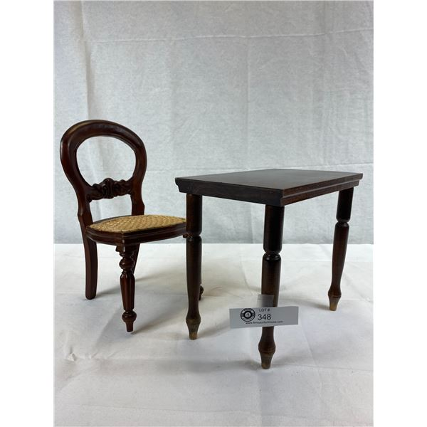 """Vintage Wooden Doll Table With Chair, Table Is Approx. 9""""x6.5"""", Chair 12.5""""T, Perfect For 16""""-18"""" Do"""