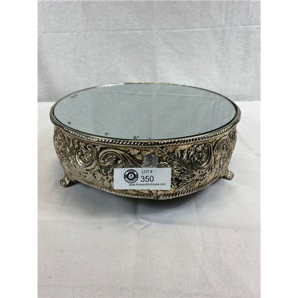 "Fabulous Vintage Ornate Silver Plated Mirrored Cake Stand, 12"" Diameter, 4""T, Great Décor Piece"