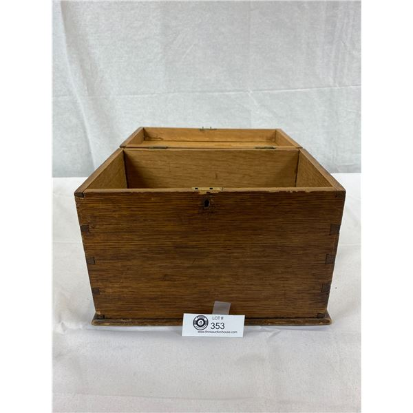 """Antique Wooden Table Top Accessory/Letter Box, Beautifully Hand Crafted, 8""""T X 11""""W X 7"""" Deep"""