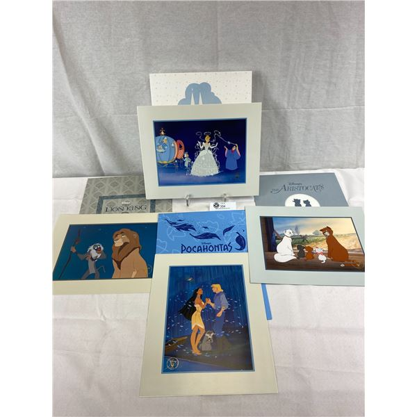 Set of 4 Disney Store Lithographs Commemorative In Original Envelope, The Aristo Cats, Lion King, Ci