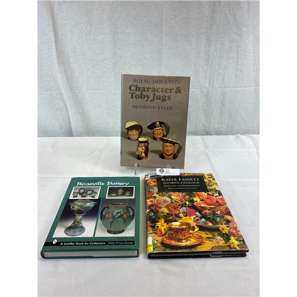 3 Hardcover Books On Collectibles, Royal Doulton, Caffe Faccett And Roseville Pottery