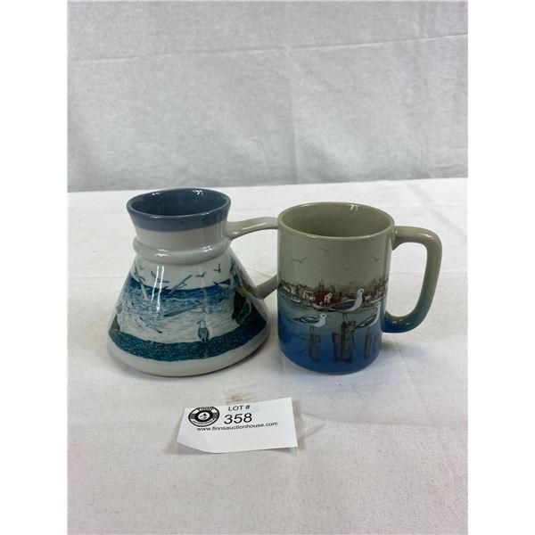 2 Vintage Otagiri Japan Ceramic Jug And Mug With Costal Scenes, Both Items Marked Otagiri And In Gre