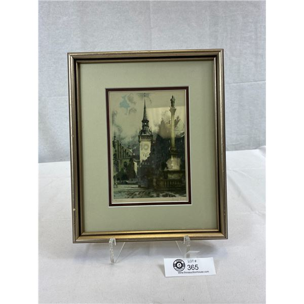 """1919 Rudulf Voit München Germany Framed Print, 10""""x12"""", Beautifully Hand Coloured Etching Signed"""