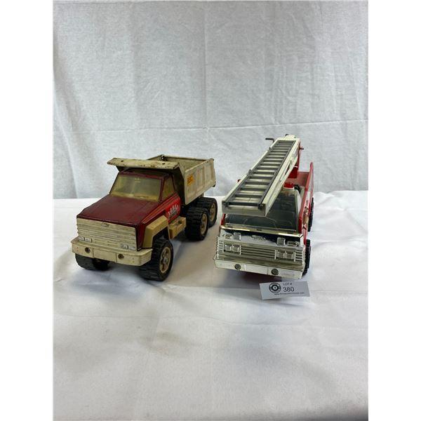 Vintage Tonka Metal Construction Truck Plus Tonka Fire Truck