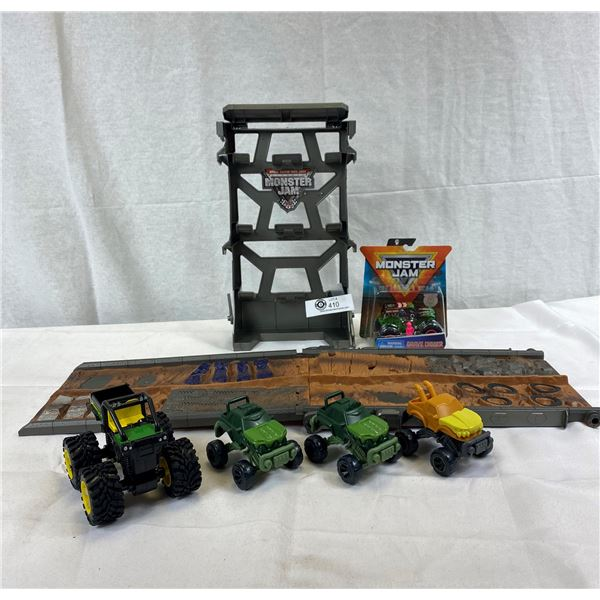 Nice Lot Of Monster Jam Vehicles And Off Road Track