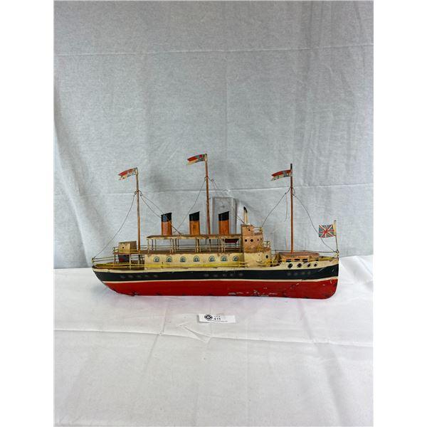 """Nice 25""""L X 15""""T Tin Ship, Folk Art"""