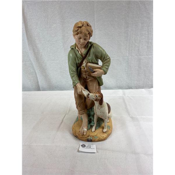 """18""""T Boy Feeding Dog Statue"""