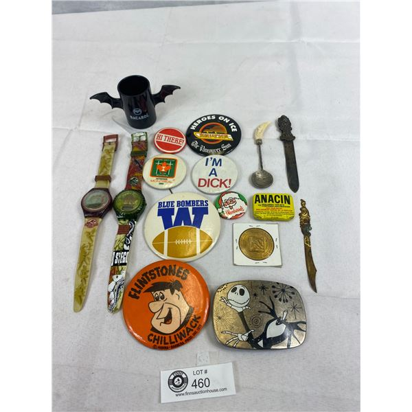 Nice Collectible Lot Of Pins, Buttons, Watches, Etc.