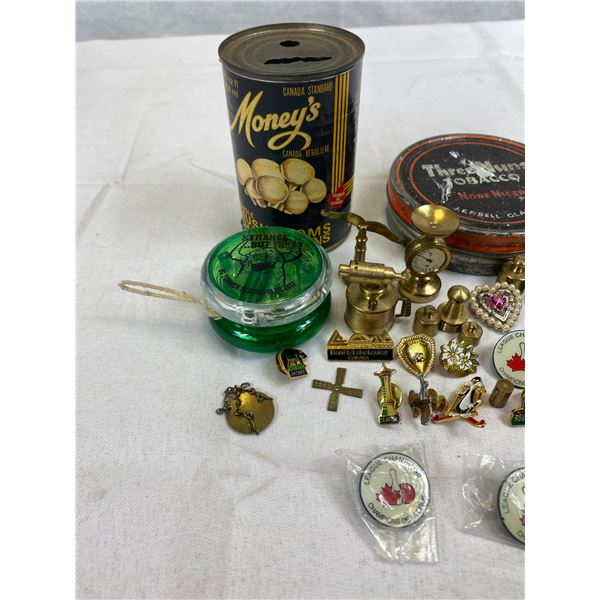 Misc. Collectible Lot Of Pins, Buttons, Tins, Etc.