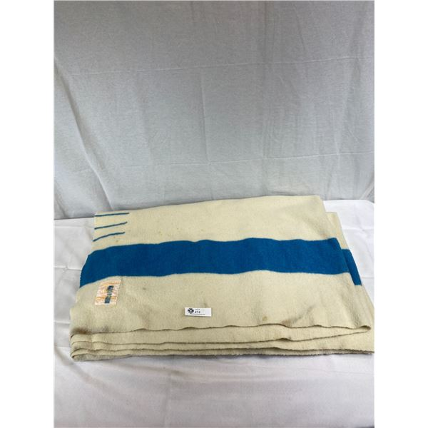 Nice Hudson Bay Blanket With Blue Stripe In Very Good Condition, Clean