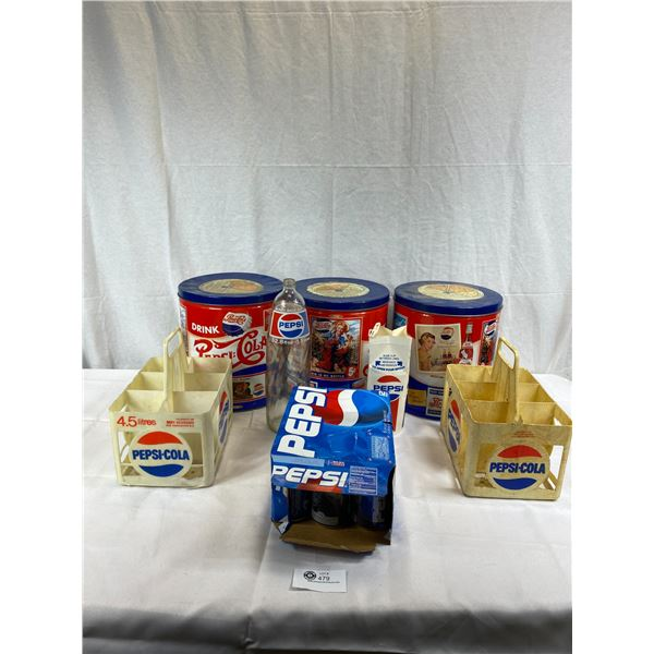 Large Box Lot Of Collectible Pepsi, Tins, Cans, Containers, Bottle, Etc.