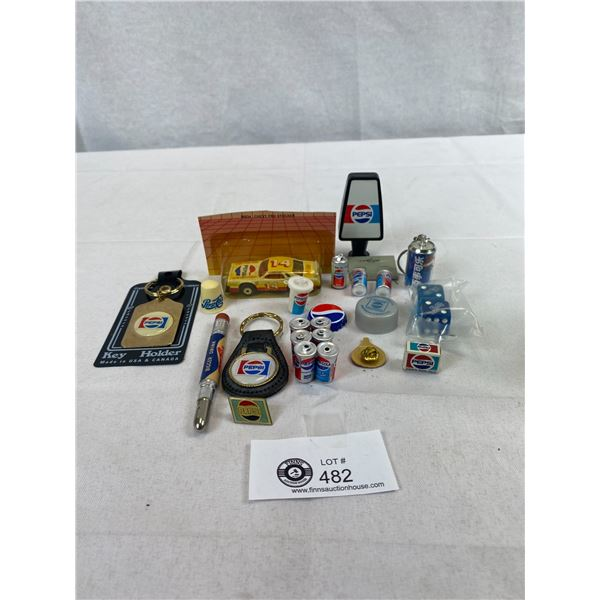 Nice Collectible Pepsi Lot, Keychains, Pins, Cars, Etc.